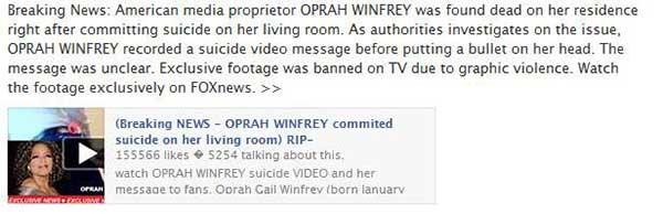 Estafa en Facebook: Oprah Winfrey está muerta