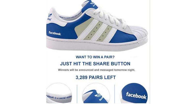 Alerta de estafa: Gana un par de zapatillas Adidas de la marca Facebook